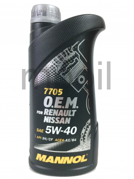 Масло MANNOL 7705 O.E.M. for Renault Nissan  5w40 1л